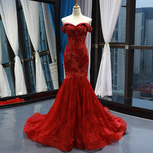 將圖片載入圖庫檢視器 #7176 OFF SHOULDER EMBROIDERY EVENING DRESSES