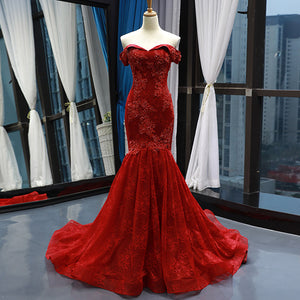 #7176 OFF SHOULDER EMBROIDERY EVENING DRESSES