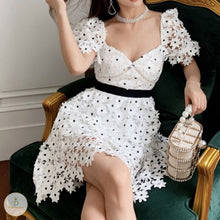 Load image into Gallery viewer, #7195 3D FLOWER LACE BUBBLE SLEEVE DRESS