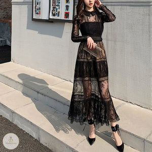 #7196 LAPEL LACE DRESS