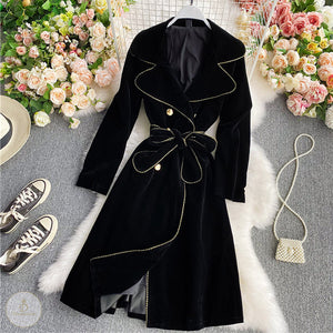 #7219 VELVET DOUBLE-BREASTED COAT JACKET