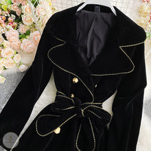 將圖片載入圖庫檢視器 #7219 VELVET DOUBLE-BREASTED COAT JACKET