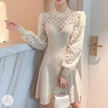 Load image into Gallery viewer, #7229 KNIT STITCHING LACE DRESS