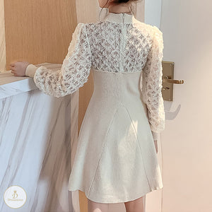 #7229 KNIT STITCHING LACE DRESS