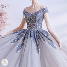 Load image into Gallery viewer, #7237 STARRY SKY GLITTER PROM DRESS