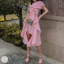 Load image into Gallery viewer, #7284 3D RUFFLED IRREGULAR DRESS