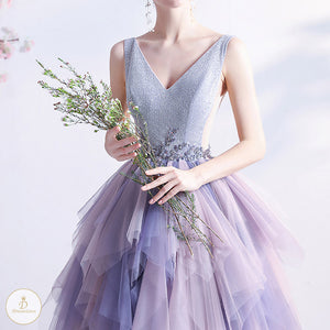 #7311 GRADIENT PURPLE EVENING DRESS