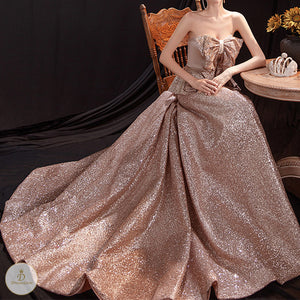 #7313 GOLD EVENING DRESS