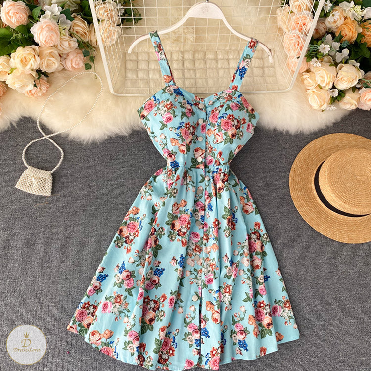#7324 PRINTED SUSPENDER DRESS