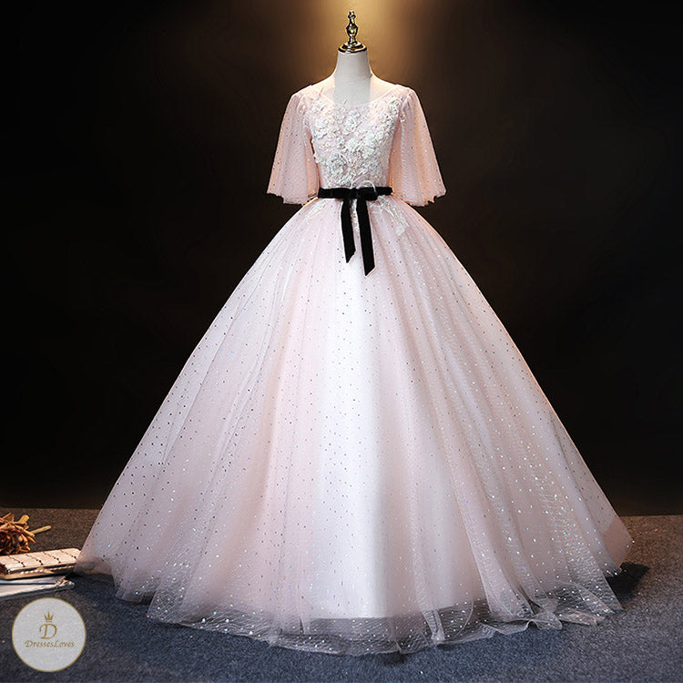 #7327 EMBROIDERY PROM DRESS