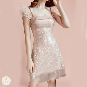 #7351 SEQUIN FEATHER STRAP DRESS