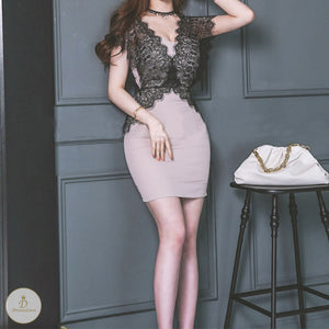 #7354 V-NECK LACE DRESS