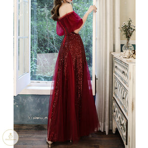 #7374 OFF SHOULDER SEQUIN SWING DRESS