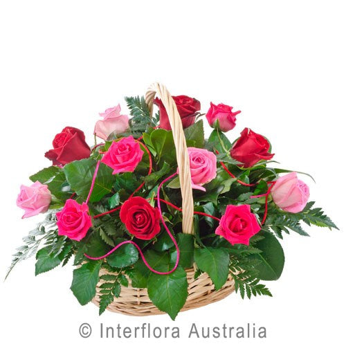 Valentines Basket of Pink and Red Roses