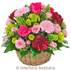 Bright Blooms in Basket