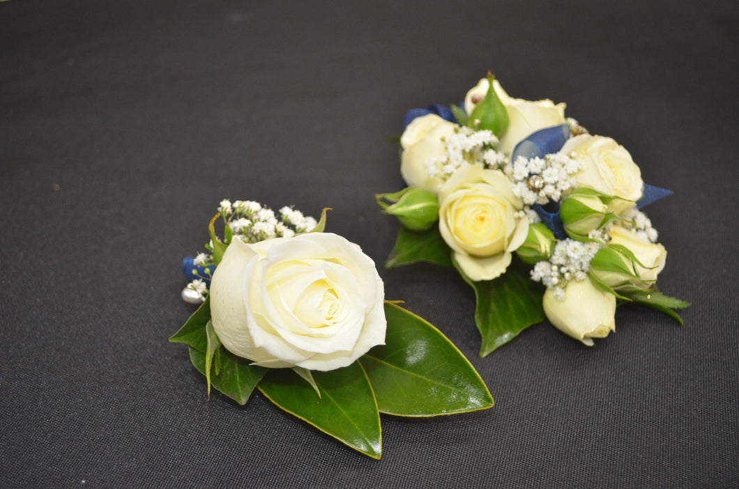 White Rose Corsage and Buttonhole