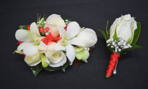 White Orchid Corsage and Buttonhole