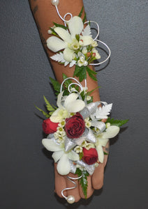 White Orchid and Red Rose Corsage & Buttonhole