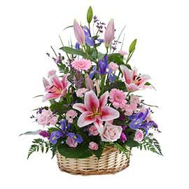 Large Mixed Blooms in Basket