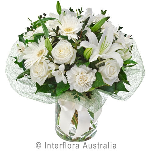 Mixed White Blooms in Glass Vase
