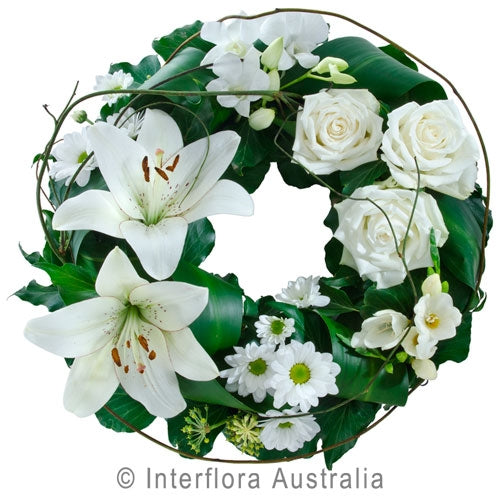 White Rose and Lily Wreath