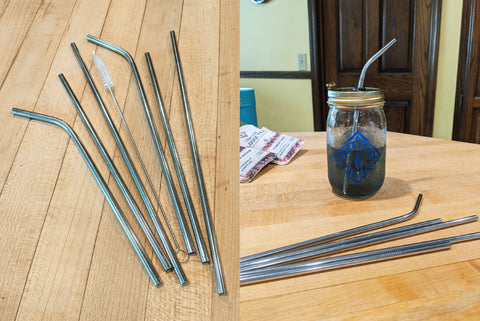 Left image: a pile of dull, tarnished metal straws. Right image: a pile of shiny metal straws in front of a half-full pint jar of tea.
