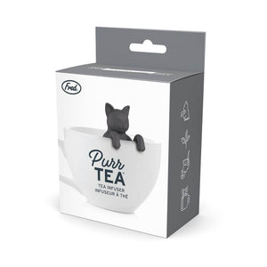 The box for the cat shaped Fred-brand tea strainer: Purr Tea