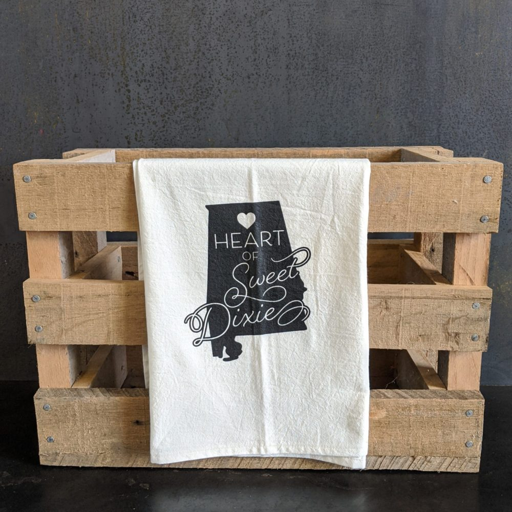 "Sweet Dixie Tea Towel with black print. Alabama - ""Heart of Sweet Dixie"""