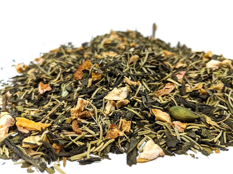 A pile of our Springdrop Spritzer loose leaf showing the green tea, rosemary, cardamom, and more