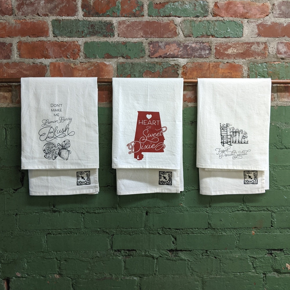 All 3 tea towel designs: Lemon Berry Blush, Sweet Dixie, and Front Porch Special