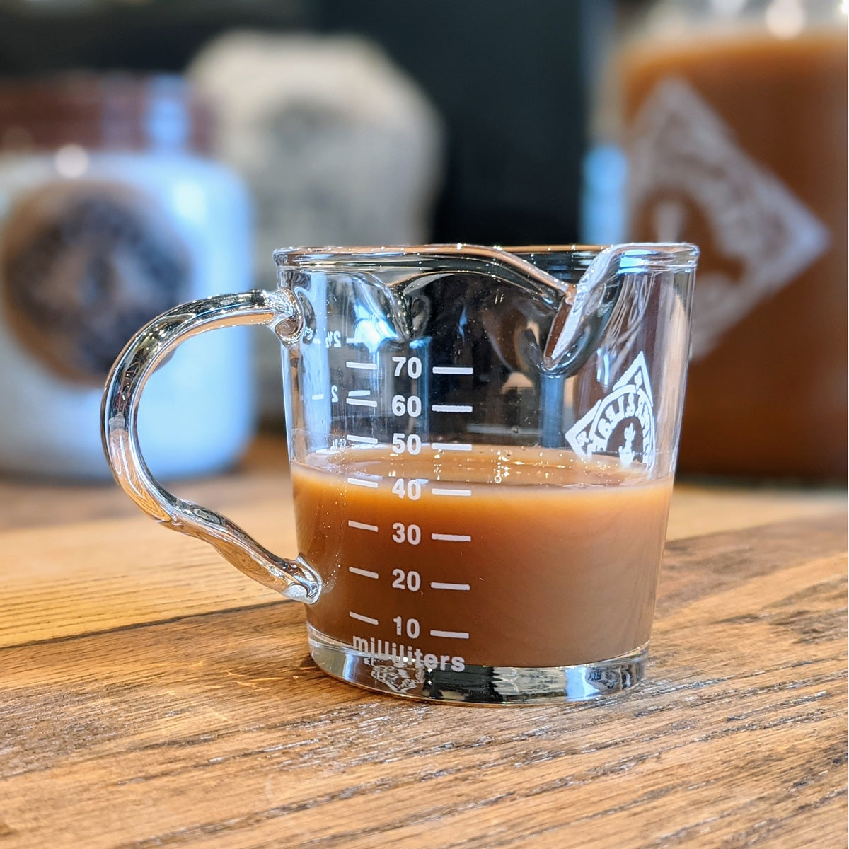 Piper Mini Measure - a tiny glass measuring cup with a little handle. Up to 70 milliliters or 2.5oz