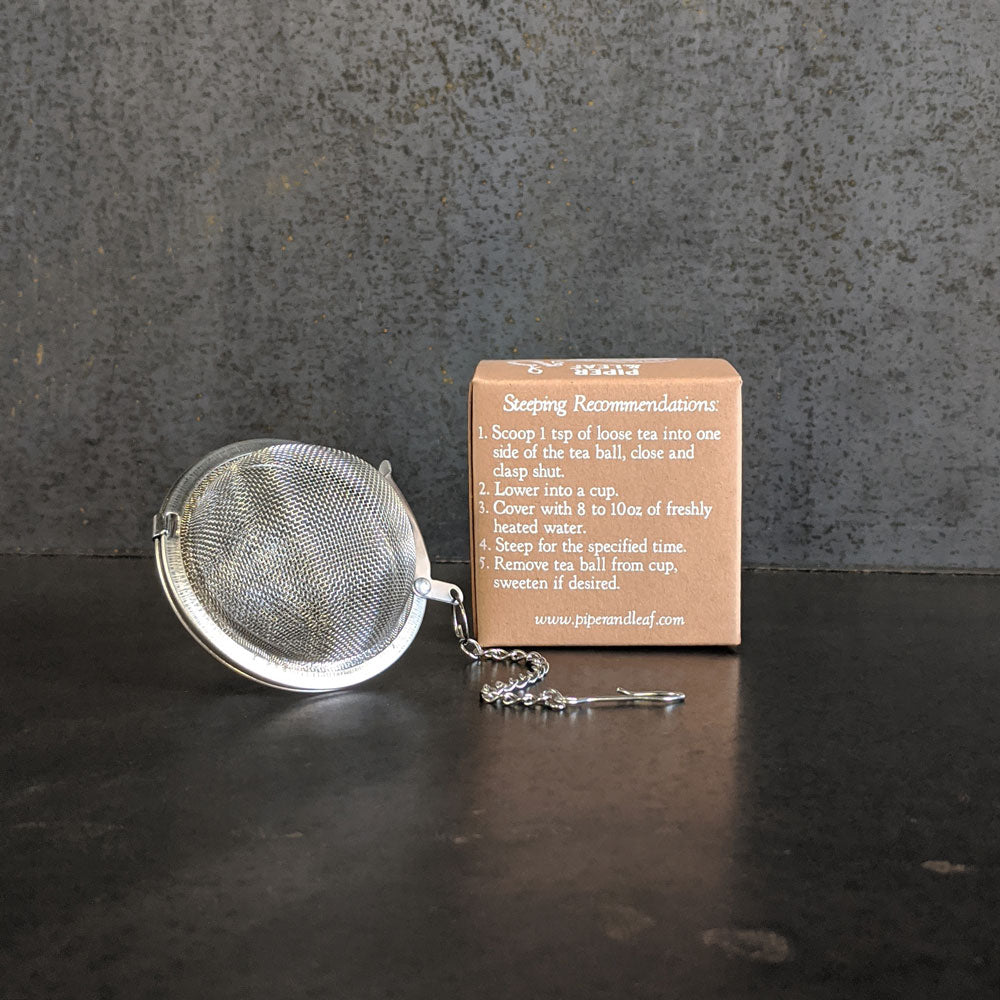 Tea ball strainer with box instructions; for loose leaf brewing