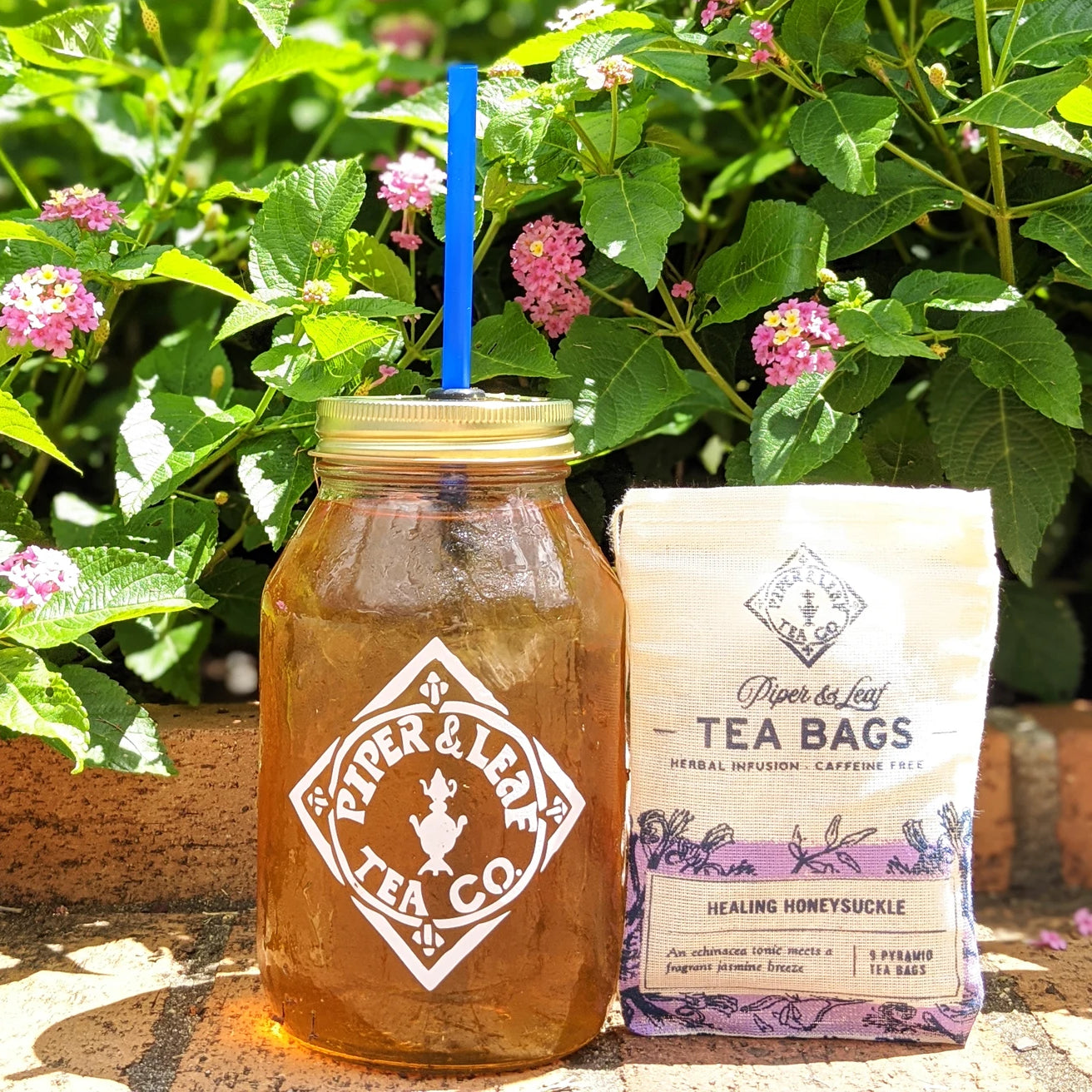 A bag of Healing Honeysuckle loose leaf and a quart jar of iced tea sit in front of a flowering bush