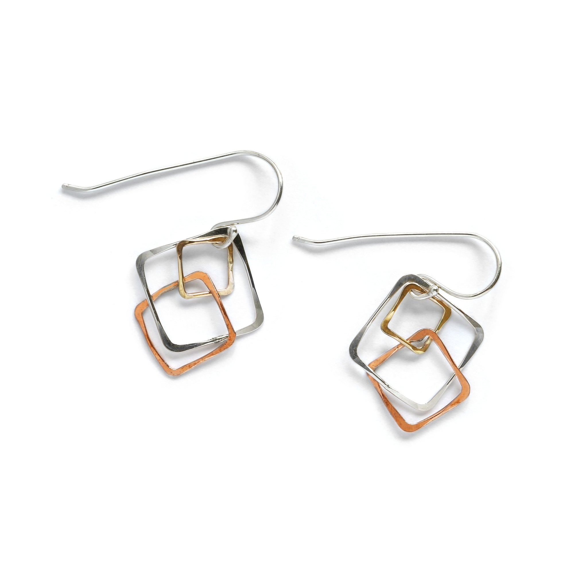 Mixed Metal Triple Square Earring