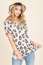 LOOSE FIT LEOPARD PRINT V-NECK TOP - Earthy Wares