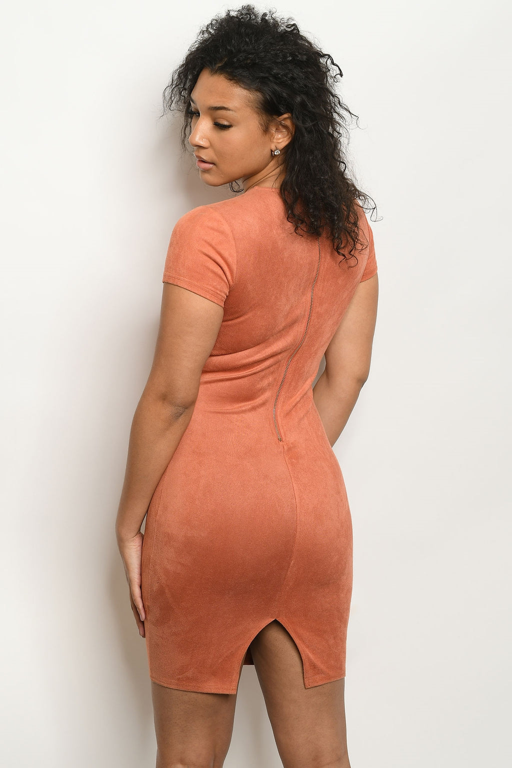 SMOOTH BODYCON RUST DRESS