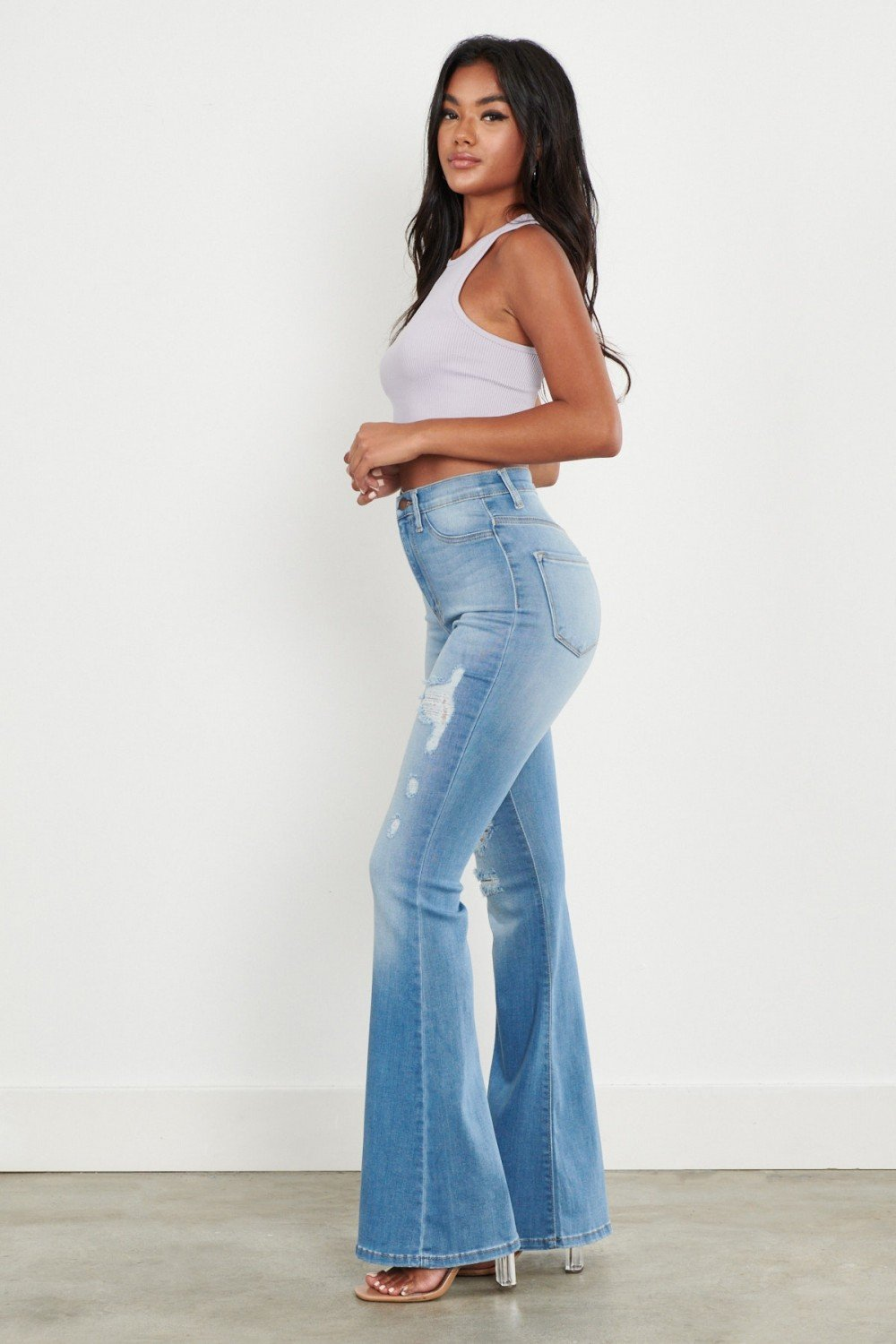 HIGH WAIST FLARE JEANS - Earthy Wares