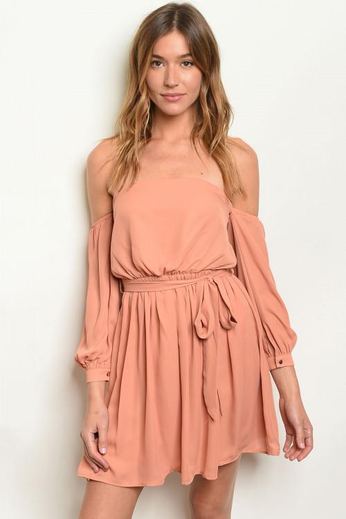 OFF THE SHOULDER APRICOT DRESS - Earthy Wares