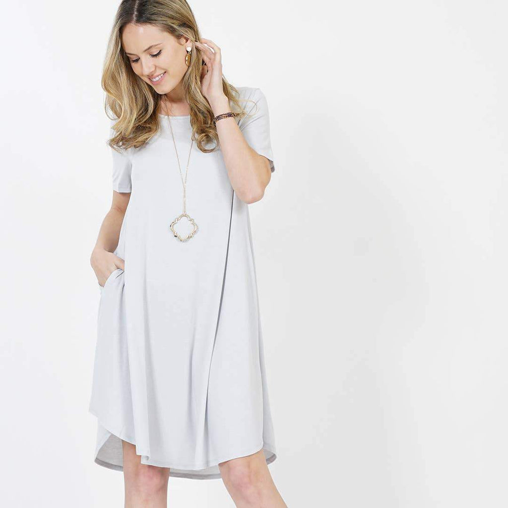 SALE  - L only Signature Side-pocket Short sleeve Dress - Earthy Wares