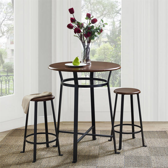 Montgomery Industrial 3-Piece Dining Set - Dark Mahogany - N/A