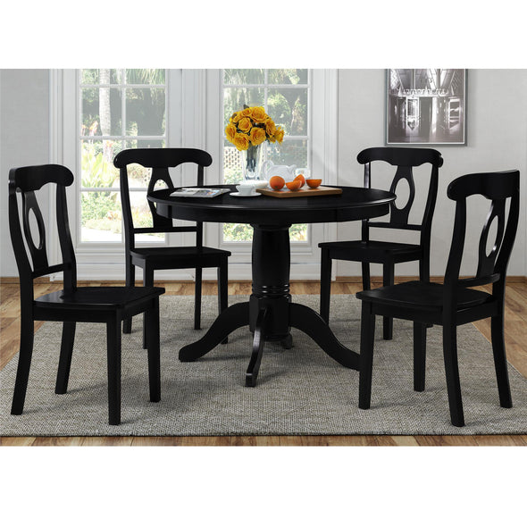 Aubrey 5-Piece Traditional Pedestal Dining Set - Black - N/A