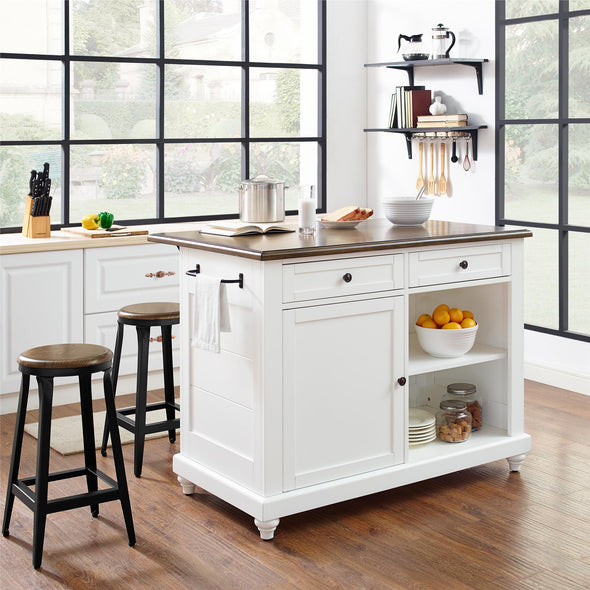 Kelsey Kitchen Island with 2 Stools - White - N/A