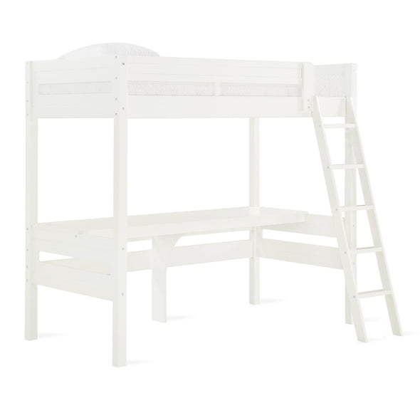 Harlan Loft Bed with Desk and Ladder - White - N/A