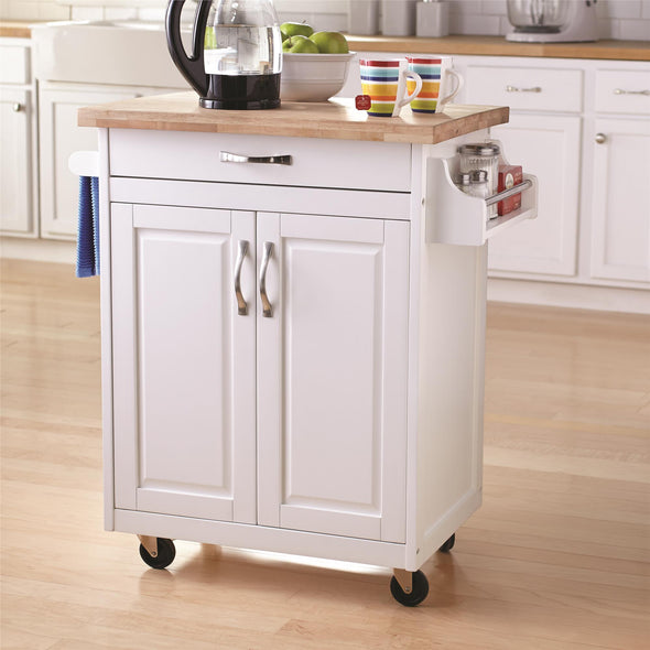 Kitchen Island Cart with Drawer & Storage Shelves - White - N/A