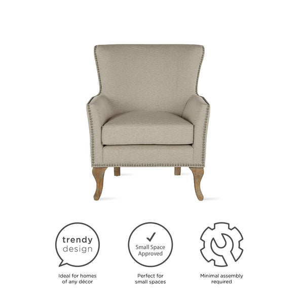 Reva Accent Chair - Beige - N/A