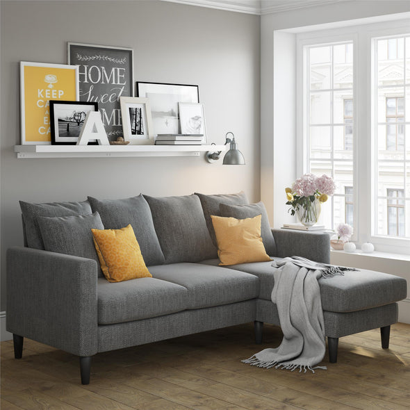Forbin Reversible Sectional Sofa Couch with Pillows - Gray - N/A