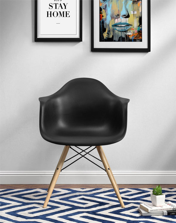 Mid Century Modern Molded Arm Chair with Wood Leg - Black - N/A