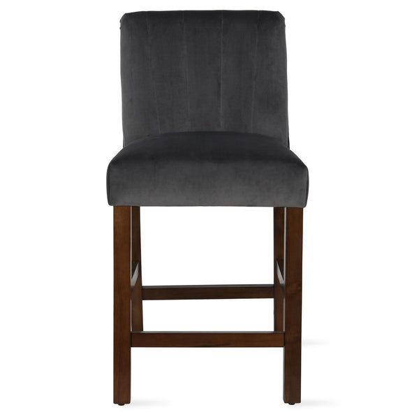 Zoya Channel Back Upholstered Counter Stool - Charcoal - N/A