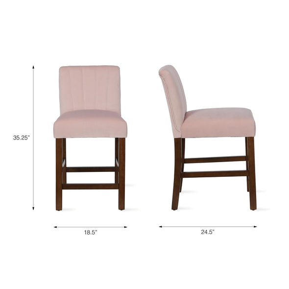 Zoya Channel Back Upholstered Counter Stool - Blush - N/A
