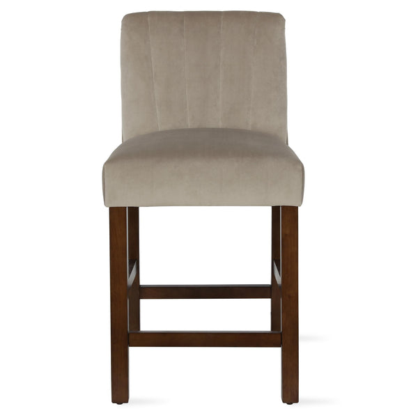 Zoya Channel Back Upholstered Counter Stool - Beige - N/A